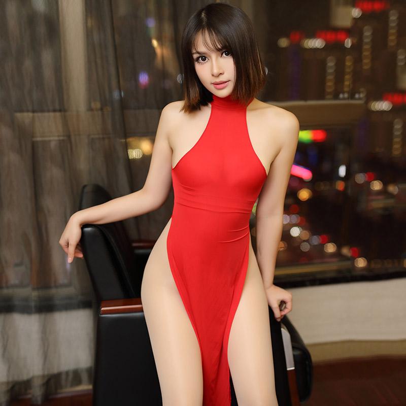 情趣内衣泳布激情高开衩旗袍后背镂空高腰长款制服套装女夫妻用品