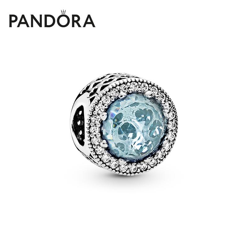 Pandora潘多拉官方旗舰冰河蓝闪耀之心791725NGL925银情侣礼物