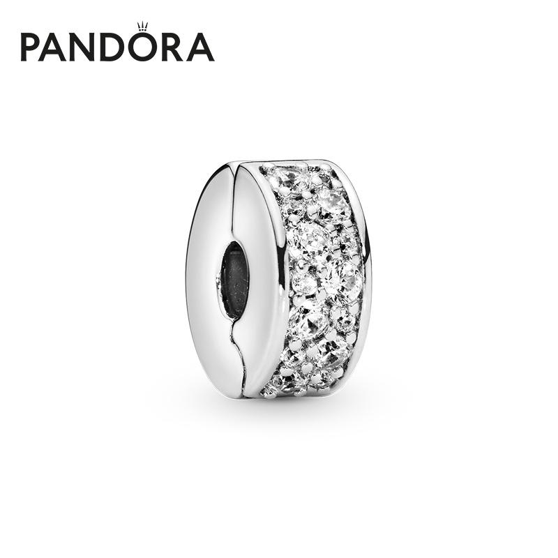 Pandora潘多拉官网 闪烁优雅791817CZ固定夹925银硅胶时尚气质女