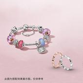 Pandora潘多拉薰衣草色波浪形琉璃串饰925银798875C00送礼物