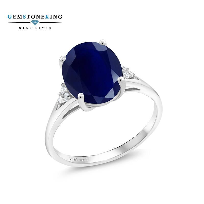 GSK 5.07克拉蓝宝石戒指女白10K金戒指镶天然彩宝美国进口礼物送女友生日礼物彩色宝石戒指 美国8号(中国17-18号)