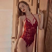 浪漫蕾丝情趣内衣女睡衣开档免脱骚连体衣性感小胸制服紧身透视装