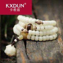 KXDUN/卡希盾高抛白玉菩提根手串108颗佛珠菩提子手链饰品gs0429