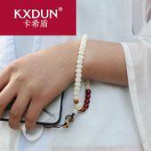 KXDUN中国风编织白玉菩提红玛瑙短款手机链挂件绳民族风yyd0509