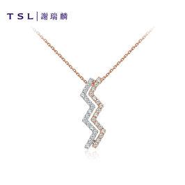 TSL谢瑞麟爱如闪电系列18K金镶嵌钻石项链商场同款挂坠颈饰BB413