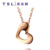 TSL谢瑞麟18K金项链女时尚玫瑰金彩金爱心锁骨链套链AC667