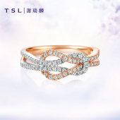 TSL谢瑞麟18k玫瑰金浪漫契约系列钻石群镶结婚求婚戒指BB480