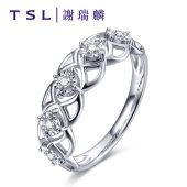 TSL谢瑞麟密.恋系列18K钻石戒指结婚订婚气质群镶嵌钻戒BB043