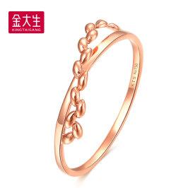 18K玫瑰金戒指女款个性时尚麦穗彩金戒指尾戒时尚韩版送礼G4500Z